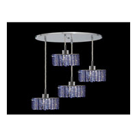 Elegant Lighting Mini 4 Light Pendant in Chrome with Royal Cut Sapphire Crystal 1284D-R-E-SA/RC