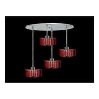 Elegant Lighting Mini 4 Light Pendant in Chrome with Royal Cut Bordeaux Crystal 1284D-R-P-BO/RC