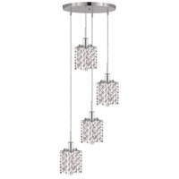 Mini 4 Light 10 inch Chrome Pendant Ceiling Light in Clear, Royal Cut, Round, Star