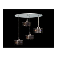 Elegant Lighting Mini 4 Light Pendant in Chrome with Royal Cut Jet Black Crystal 1284D-R-P-JT/RC