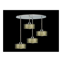 Elegant Lighting Mini 4 Light Pendant in Chrome with Royal Cut Light Peridot Crystal 1284D-R-P-LP/RC