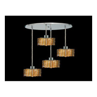 Elegant Lighting Mini 4 Light Pendant in Chrome with Royal Cut Light Topaz Crystal 1284D-R-P-LT/RC