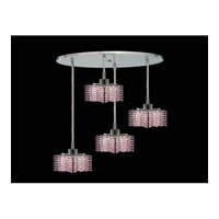 Elegant Lighting Mini 4 Light Pendant in Chrome with Royal Cut Rosaline Crystal 1284D-R-P-RO/RC