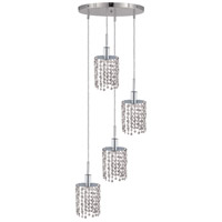 Mini 4 Light 10 inch Chrome Pendant Ceiling Light in Clear, Royal Cut, Round