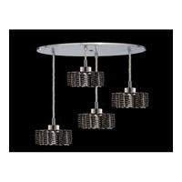 Elegant Lighting Mini 4 Light Pendant in Chrome with Royal Cut Jet Black Crystal 1284D-R-R-JT/RC