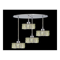 Elegant Lighting Mini 4 Light Pendant in Chrome with Royal Cut Light Peridot Crystal 1284D-R-R-LP/RC