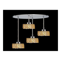 Elegant Lighting Mini 4 Light Pendant in Chrome with Royal Cut Light Topaz Crystal 1284D-R-R-LT/RC
