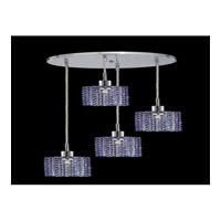 Elegant Lighting Mini 4 Light Pendant in Chrome with Royal Cut Sapphire Crystal 1284D-R-R-SA/RC