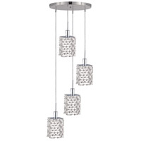Mini 4 Light 10 inch Chrome Pendant Ceiling Light in Clear, Royal Cut, Round, Square