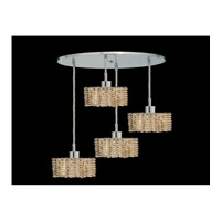 Elegant Lighting Mini 4 Light Pendant in Chrome with Royal Cut Golden Teak Crystal 1284D-R-S-GT/RC