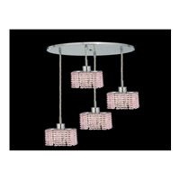 Elegant Lighting Mini 4 Light Pendant in Chrome with Royal Cut Rosaline Crystal 1284D-R-S-RO/RC