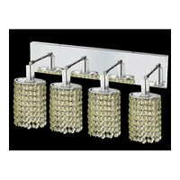 Mini 4 Light 26 inch Chrome Vanity Wall Light in Light Peridot, Royal Cut, Ellipse