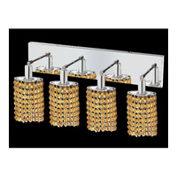 Mini 4 Light 26 inch Chrome Vanity Wall Light in Light Topaz, Royal Cut, Ellipse