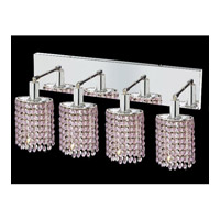 Mini 4 Light 26 inch Chrome Vanity Wall Light in Rosaline, Royal Cut, Ellipse