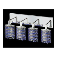 Elegant Lighting Mini 4 Light Vanity in Chrome with Swarovski Strass Sapphire Crystal 1284W-O-E-SA/SS