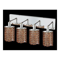 Elegant Lighting Mini 4 Light Vanity in Chrome with Swarovski Strass Topaz Crystal 1284W-O-E-TO/SS