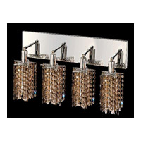 Elegant Lighting Mini 4 Light Vanity in Chrome with Swarovski Strass Golden Teak Crystal 1284W-O-P-GT/SS
