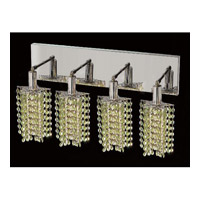 Elegant Lighting Mini 4 Light Vanity in Chrome with Swarovski Strass Light Peridot Crystal 1284W-O-P-LP/SS