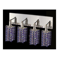 Elegant Lighting Mini 4 Light Vanity in Chrome with Swarovski Strass Sapphire Crystal 1284W-O-P-SA/SS