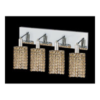 Elegant Lighting Mini 4 Light Vanity in Chrome with Swarovski Strass Golden Teak Crystal 1284W-O-R-GT/SS