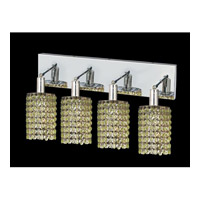 Elegant Lighting Mini 4 Light Vanity in Chrome with Swarovski Strass Light Peridot Crystal 1284W-O-R-LP/SS