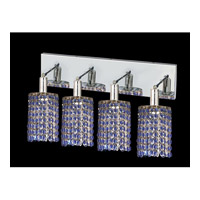 Elegant Lighting Mini 4 Light Vanity in Chrome with Swarovski Strass Sapphire Crystal 1284W-O-R-SA/SS