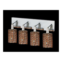 Elegant Lighting Mini 4 Light Vanity in Chrome with Swarovski Strass Topaz Crystal 1284W-O-R-TO/SS
