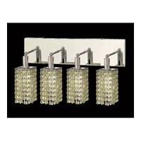 Elegant Lighting Mini 4 Light Vanity in Chrome with Swarovski Strass Light Peridot Crystal 1284W-O-S-LP/SS