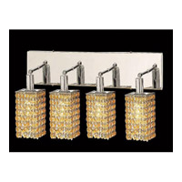 Elegant Lighting Mini 4 Light Vanity in Chrome with Swarovski Strass Light Topaz Crystal 1284W-O-S-LT/SS
