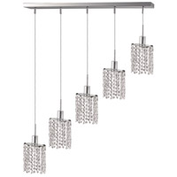 Mini 4 Light 34 inch Chrome Pendant Ceiling Light in Clear, Royal Cut, Ellipse