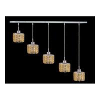 Elegant Lighting Mini 4 Light Pendant in Chrome with Swarovski Strass Light Topaz Crystal 1285D-O-E-LT/SS
