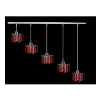 Elegant Lighting Mini 5 Light Pendant in Chrome with Royal Cut Bordeaux Crystal 1285D-O-P-BO/RC