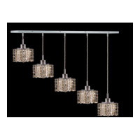 Elegant Lighting Mini 5 Light Pendant in Chrome with Swarovski Strass Golden Teak Crystal 1285D-O-P-GT/SS
