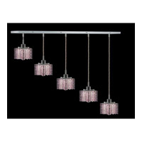 Elegant Lighting Mini 5 Light Pendant in Chrome with Royal Cut Rosaline Crystal 1285D-O-P-RO/RC