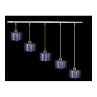Elegant Lighting Mini 5 Light Pendant in Chrome with Swarovski Strass Sapphire Crystal 1285D-O-P-SA/SS