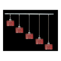 Elegant Lighting Mini 5 Light Pendant in Chrome with Royal Cut Bordeaux Crystal 1285D-O-R-BO/RC