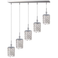 Elegant Lighting Mini 5 Light Pendant in Chrome with Royal Cut Clear Crystal 1285D-O-R-CL/RC