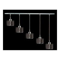 Elegant Lighting Mini 5 Light Pendant in Chrome with Royal Cut Jet Black Crystal 1285D-O-R-JT/RC