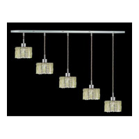 Elegant Lighting Mini 5 Light Pendant in Chrome with Royal Cut Light Peridot Crystal 1285D-O-R-LP/RC