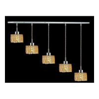 Elegant Lighting Mini 5 Light Pendant in Chrome with Royal Cut Light Topaz Crystal 1285D-O-R-LT/RC