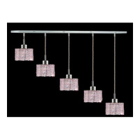 Elegant Lighting Mini 5 Light Pendant in Chrome with Royal Cut Rosaline Crystal 1285D-O-R-RO/RC