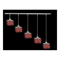 Elegant Lighting Mini 5 Light Pendant in Chrome with Royal Cut Bordeaux Crystal 1285D-O-S-BO/RC
