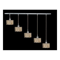 Elegant Lighting Mini 5 Light Pendant in Chrome with Royal Cut Golden Teak Crystal 1285D-O-S-GT/RC