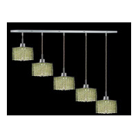 Elegant Lighting Mini 5 Light Pendant in Chrome with Royal Cut Light Peridot Crystal 1285D-O-S-LP/RC
