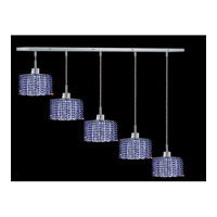 Elegant Lighting Mini 5 Light Pendant in Chrome with Royal Cut Sapphire Crystal 1285D-O-S-SA/RC