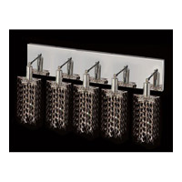 Elegant Lighting Mini 5 Light Vanity in Chrome with Swarovski Strass Jet Black Crystal 1285W-O-P-JT/SS