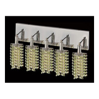 Elegant Lighting Mini 5 Light Vanity in Chrome with Swarovski Strass Light Peridot Crystal 1285W-O-P-LP/SS