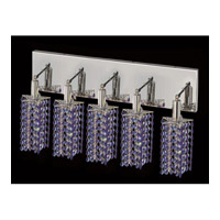 Elegant Lighting Mini 5 Light Vanity in Chrome with Swarovski Strass Sapphire Crystal 1285W-O-P-SA/SS