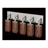 Elegant Lighting Mini 5 Light Vanity in Chrome with Royal Cut Topaz Crystal 1285W-O-P-TO/RC