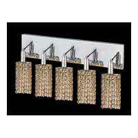 Elegant Lighting Mini 5 Light Vanity in Chrome with Royal Cut Golden Teak Crystal 1285W-O-R-GT/RC